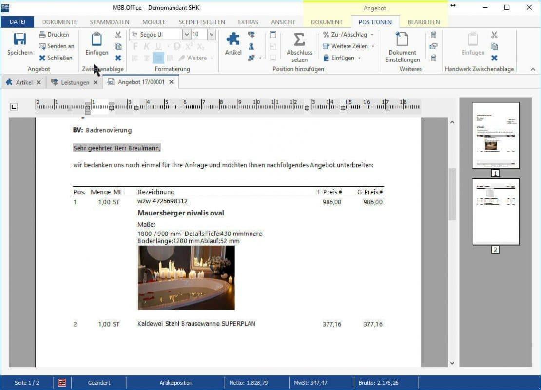 Angebot M3B.Office Handwerkerlösung