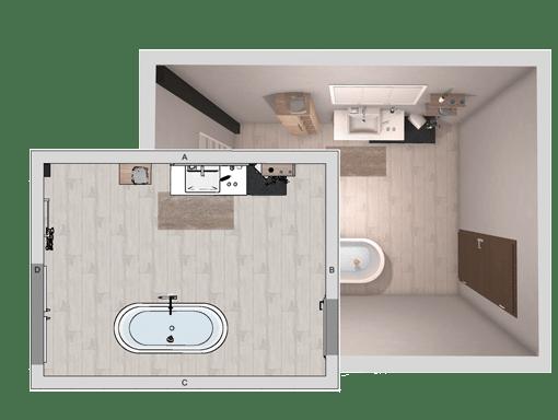 2D und 3D Grundriss von Badplan 3D