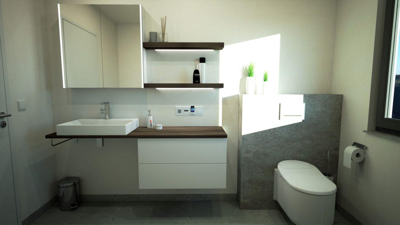 3D Badplanung mit Bademöbel und WC