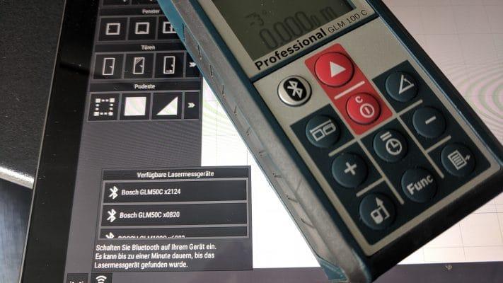 Lasermessgerät mit einem Tablet