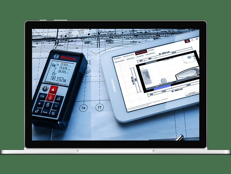 Aufmaß App mit Lasermessgerät und Tablet